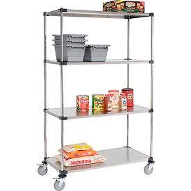 Nexel® Stainless Steel Shelf Truck 48x24x80 1200 Lb. Capacity with Brakes