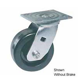 """Faultless Swivel Plate Caster 460S-5RB 5"""" Polyolefin Wheel with Brake"""