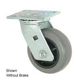 "Faultless Swivel Plate Caster 493-5RB 5"" TPR Wheel with Brake"