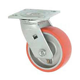 """Faultless Swivel Plate Caster 1438-6 6"""" Mold-On Poly Wheel"""