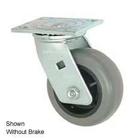 """Faultless Swivel Plate Caster 1491-8RB 8"""" TPR Wheel with Brake"""