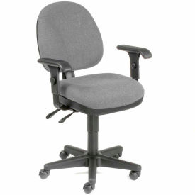 Multifunction Task Chair with Arms - Fabric - Gray