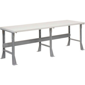 "96""W X 36""D X 34""H Plastic Laminate Square Edge Workbench - Gray"