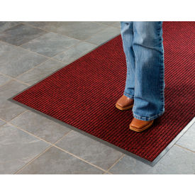Deep Cleaning Ribbed 3' W x 60'L Roll Entrance Mat Red