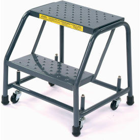 """Perforated 16""""W 2 Step Steel Rolling Ladder 10""""D Top Step"""