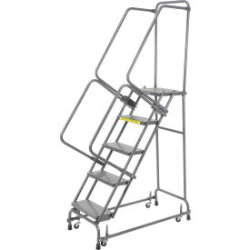 """Perforated 16""""W 5 Step Steel Rolling Ladder 14""""D Top Step"""