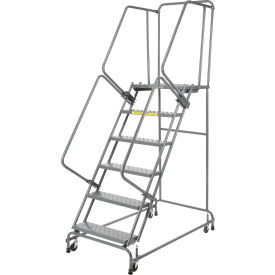 """Perforated 16""""W 6 Step Steel Rolling Ladder 14""""D Top Step"""