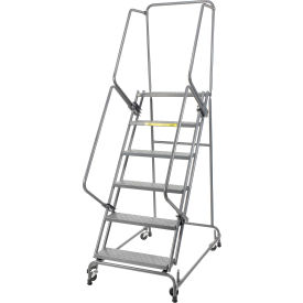 """Perforated 24""""W 6 Step Steel Rolling Ladder 14""""D Top Step- Lock Style A"""