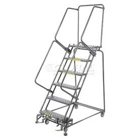 "Perforated 24""W 6 Step Steel Rolling Ladder 14""D Top Step- Lock Style B"