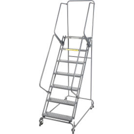 """Perforated 24""""W 7 Step Steel Rolling Ladder 14""""D Top Step- Lock Style A"""