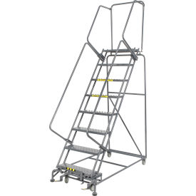 """Perforated 24""""W 8 Step Steel Rolling Ladder 14""""D Top Step"""