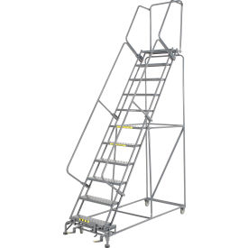"""Perforated 24""""W 11 Step Steel Rolling Ladder 14""""D Top Step"""