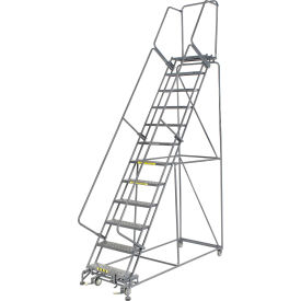 """Perforated 24""""W 12 Step Steel Rolling Ladder 14""""D Top Step"""