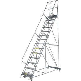 """Perforated 24""""W 14 Step Steel Rolling Ladder 14""""D Top Step"""