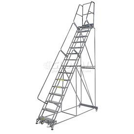 """Perforated 24""""W 15 Step Steel Rolling Ladder 14""""D Top Step"""