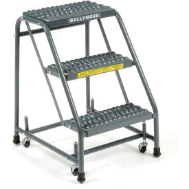 "Grip 16""W 3 Step Steel Rolling Ladder 10""D Top Step"