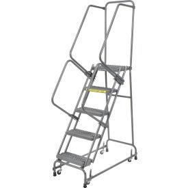 "Grip 16""W 5 Step Steel Rolling Ladder 14""D Top Step"