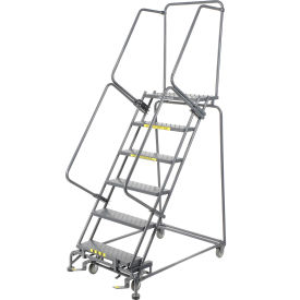 "Grip 16""W 6 Step Steel Rolling Ladder 14""D Top Step"