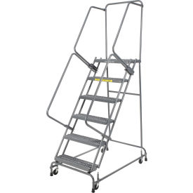 "Grip 24""W 6 Step Steel Rolling Ladder 14""D Top Step- Lock Type A"