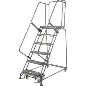 "Grip 24""W 6 Step Steel Rolling Ladder 14""D Top Step- Lock Type B"