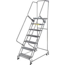 "Grip 16""W 7 Step Steel Rolling Ladder 14""D Top Step"