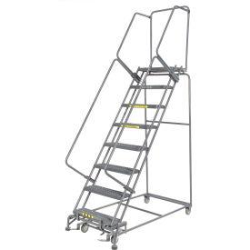 "Grip 24""W 8 Step Steel Rolling Ladder 14""D Top Step"