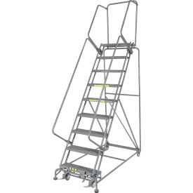 "Grip 24""W 9 Step Steel Rolling Ladder 14""D Top Step"