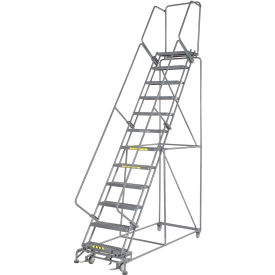 "Grip 24""W 12 Step Steel Rolling Ladder 14""D Top Step"