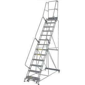 "Grip 24""W 13 Step Steel Rolling Ladder 14""D Top Step"