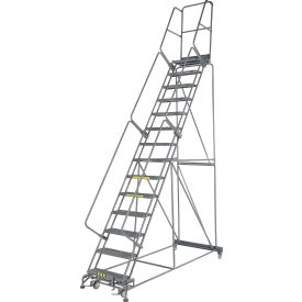 "Grip 24""W 14 Step Steel Rolling Ladder 14""D Top Step"