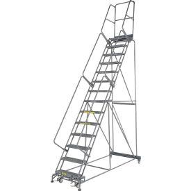 "Grip 24""W 14 Step Steel Rolling Ladder 14""D Top Step"