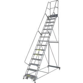 "Grip 24""W 15 Step Steel Rolling Ladder 14""D Top Step"