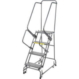 """Perforated 16""""W 4 Step Steel Rolling Ladder 21""""D Top Step"""