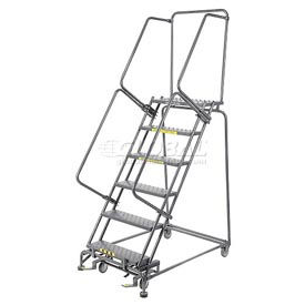"Perforated 24""W 6 Step Steel Rolling Ladder 21""D Top Step- Lock Type B"