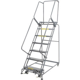 "Perforated 16""W 7 Step Steel Rolling Ladder 21""D Top Step"