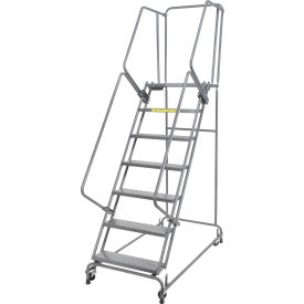 """Perforated 24""""W 7 Step Steel Rolling Ladder 21""""D Top Step- Lock Type A"""