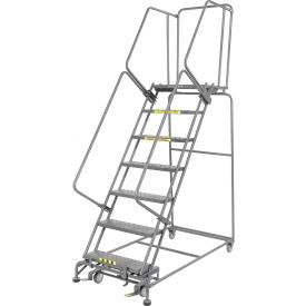 """Perforated 24""""W 7 Step Steel Rolling Ladder 21""""D Top Step- Lock Type B"""
