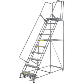 """Perforated 24""""W 10 Step Steel Rolling Ladder 21""""D Top Step"""