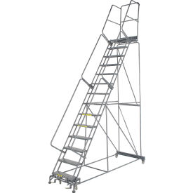 """Perforated 24""""W 14 Step Steel Rolling Ladder 21""""D Top Step"""
