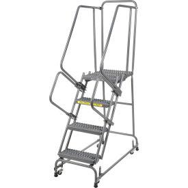 "Grip 16""W 4 Step Steel Rolling Ladder 21""D Top Step"