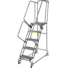 "Grip 16""W 5 Step Steel Rolling Ladder 21""D Top Step"
