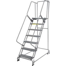 "Grip 24""W 7 Step Steel Rolling Ladder 21""D Top Step- Lock Type A"