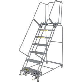 "Grip 24""W 7 Step Steel Rolling Ladder 21""D Top Step- Lock Type B"