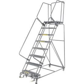 "Grip 24""W 8 Step Steel Rolling Ladder 21""D Top Step"