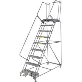 "Grip 24""W 9 Step Steel Rolling Ladder 21""D Top Step"