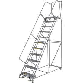 "Grip 24""W 11 Step Steel Rolling Ladder 21""D Top Step"