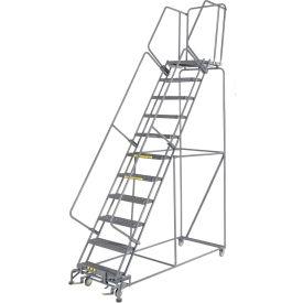 "Grip 24""W 11 Step Steel Rolling Ladder 21""D Top Step"