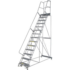 "Grip 24""W 14 Step Steel Rolling Ladder 21""D Top Step"