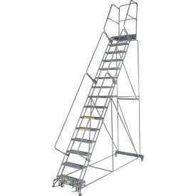 "Grip 24""W 15 Step Steel Rolling Ladder 21""D Top Step"