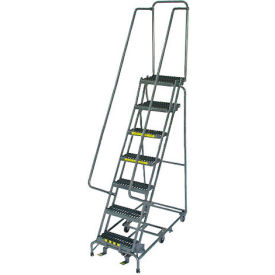 "7 Step 16"" W Grip All Directional Steel Rolling Ladder"